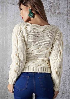 Free Knitting Patterns - Sideways Pullover with Cables Ladies Cardigan Knitting Patterns, Knit Cardigan Pattern, Crochet Cardigan, Casual Sweaters, Winter Sweaters, Knitting Socks, Free Knitting, Vetements T Shirt, Quick Knits