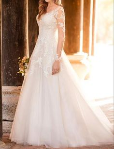 Stella York Wedding Dresses - Search our photo gallery for pictures of wedding dresses by Stella York. Find the perfect dress with recent Stella York photos. Illusion Neckline Wedding Dress, Wedding Dress Necklines, Wedding Dress Organza, Illusion Dress, 2016 Wedding Dresses, Wedding Dress Sleeves, Long Sleeve Wedding, Designer Wedding Dresses, Bridal Dresses