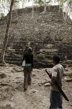 current mayan temple restoration in the peten Mayan Cities, Tikal, Masons, Central America, Archaeology, Railroad Tracks, Trek, Caribbean, Temple