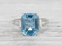 Three Carat Art Deco Aquamarine Ring