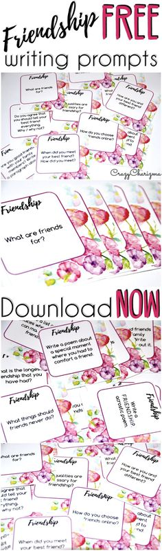 Have fun using FREEBIE: Friendship Writing Prompts with your kids!  These writing prompts are easy to prepare and you'll be able to use them with students in elementary and middle school! | CrazyCharizma