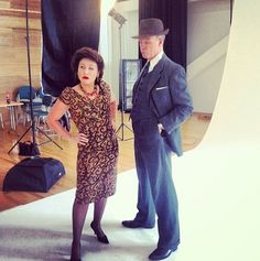 During the photo shoot of Fings Ain't Wot They Used T'Be, here's Jessie Wallace and Gary Kemp in costume.