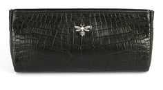 Peter Nitz Zurich - Annalena 2 matte black alligator clutch with victorian style moth brooch in silver-topped 18k gold. Set with two tiny rubies, one pearl and fifty-four sparkling diamonds.