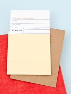 Library birthday card, with manilla sleeve. We can stamp the date for you if you add the date at checkout. Please allow 7 days before the birthday to ensure adequate. Stationery Brands, Cute Stationery, Stationery Paper, Stationary, Rifle Paper Company, Fun Crafts, Paper Crafts, A 17, Blank Cards