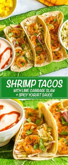 Shrimp tacos with lime cabbage slaw and spicy yogurt sauce make for a quick and easy dinner that's big on flavor! | www.familyfoodonthetable.com