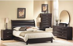 Furniture of America Elisandre Espresso Bookcase Headboard Bed with Nightstand Set - Overstock™ Shopping - Big Discounts on Furniture of America Bedroom Sets Solid Wood Platform Bed, Modern Platform Bed, Upholstered Platform Bed, Platform Beds, Bookcase Headboard, Mirror Headboard, Bookcase Styling, Bedroom Sets, Home Furniture