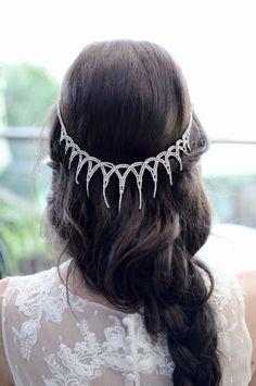 Handmade Wedding Accessories See more here: https://www.etsy.com/ca/listing/245405747/rhinestone-drop-chain-headpiece-bridal?ref=shop_home_feat_2