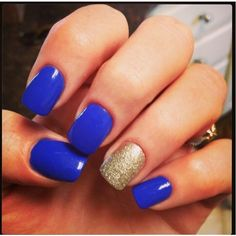 Royal blue and gold nails I Love College ❤ liked on Polyvore featuring beauty products, nail care, nails and makeup