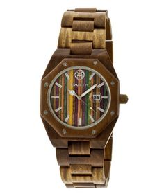 This is too cool - a wood watch! Olive & Multicolor Heartwood 9.75'' Bracelet Watch is perfect! #zulilyfinds