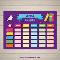 School timetable template with flat design Free Vector Classroom Schedule, Classroom Board, School Schedule, School Bulletin Boards, Class Timetable, Timetable Template, Design Plano, School Template, World Teachers