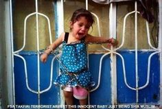 "Toddler chained To Fence By Syrian Rebels And Forced To Watch Parents Executed.Religion of ""Peace""?She look peaceful to you?And this is the fastest growing religion in America today.Coming to a kid near you? Islam, Syrian Children, Religion, Arab Spring, Sharia Law, Persecution, Stories For Kids, Obama, Christianity"