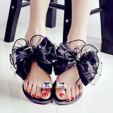 2015 été lady Bowtie fleur plat sandales sexy mode casual femme plage flip flops femmes maille gris noir chaussures maison(China (Mainland))