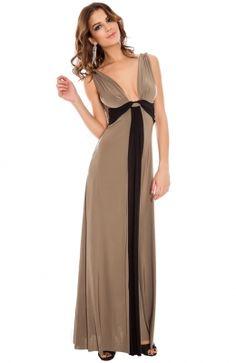 Elastické letné dlhé šaty s výstrihom Draped Grecian Column Panel Maxi b448173d939