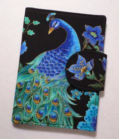$38 Kindle Cover, Kindle Fire cover, Kindle Touch cover, eReader Cover Book Style, Peacock