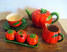 Vintage tea set,Japan tea set,summer picnic, bar-b-q,tomato set, Teapot Tomato. Salt, Pepper And Sugar Set at Designs by Willowcreek on Etsy by DesignsByWillowcreek on Etsy