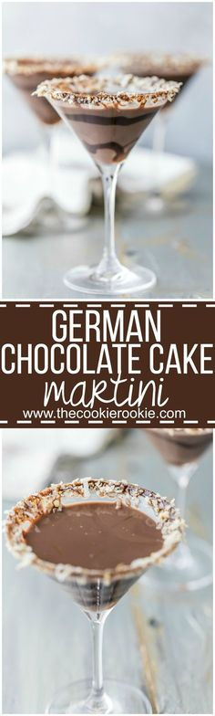This German Chocolate Cake Martini is the perfect dessert cocktail! Tastes like … This German Chocolate Cake Martini is the perfect dessert cocktail! Tastes like you're taking a bite out of your favorite cake, in martini form! SO EASY and delicious! Cocktail Desserts, Holiday Drinks, Dessert Drinks, Party Drinks, Summer Drinks, Cocktail Recipes, Dessert Food, Milk Shakes, German Chocolate