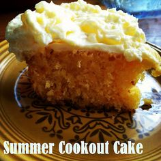Summer Cookout Cake - SUPER easy and amazingly yummy.  Cake = yellow cake box mix + mandarin oranges, Icing = cool whip, crushed pineapple, and vanilla pudding mix. YUM.