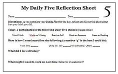 Here is a FREE Daily 5 Reflection Sheet for Students that we use in our intermediate classroom. This is a nice self-assessment to see how students ...
