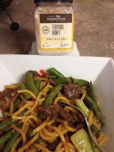 So quick and tasty YIAH teriyaki beef stir fry and noodles  Whipped up for dinner !!!