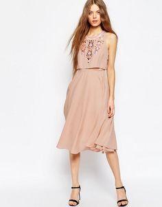 c76f7c67cb Embellished Crop Top Midi Dress
