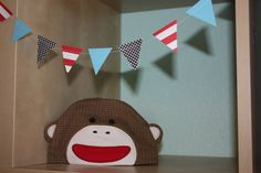 Sock Monkey Red Blue and Polka Dot Paper Garland  Dr Seuss by SimplyScissors, $9.00