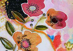 Mixed Media sur Toile : Fleurs en relief par Amylee