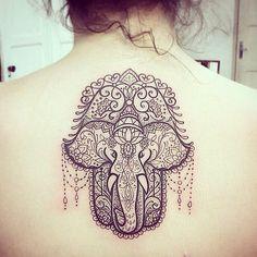 Elephant Hamsa Tattoo for Women