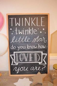 Amelias Twinkle Twinkle Little Star Baby Shower | CatchMyParty.com pink gold silver aqua blue glitter