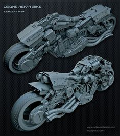 """roguetelemetry: """" Drone REK/R Bike WIP, Paul Massey (via Pin by Istvan Pely on Hardware Futuristic Motorcycle, Futuristic Cars, Hard Surface Modeling, Motorcycle Design, Motorcycle Cake, Motorcycle Jeans, Motorcycle Camping, Camping Gear, V Max"""