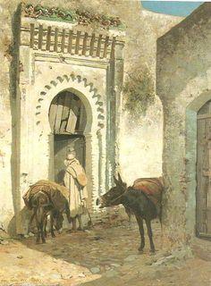 Eugène Alexis GIRARDET - Scène de rue à Tanger