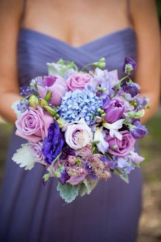 Purple Wedding Flowers Purple Hued Bridesmaids Bouquet - might be a little too pastel for our color palette but we like the different types of flowers - Summer Wedding Bouquets, Spring Wedding Colors, Purple Wedding Flowers, Flower Bouquet Wedding, Floral Wedding, Trendy Wedding, Wedding Summer, Summer Colors, Wedding Ideas