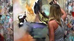 """Démonstration de peinture abstraite (9) Elisabeth - Toile """"Origine"""""""