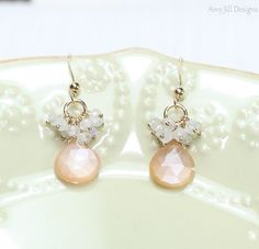 Peach Moonstone Earrings Moonstone Cluster Wire by AmyJillDesigns,