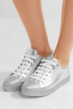 Prada - Metallic Textured-leather Sneakers - Silver - IT37.5