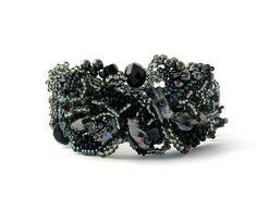 Bead jewelry, Beaded bracelet, Beadwork, Seed bead bracelet, Black silver freeform peyote bracelet