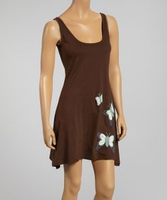 Chocolate Butterfly Scoop Neck Flutter Organic Dress | Daily deals for moms, babies and kids
