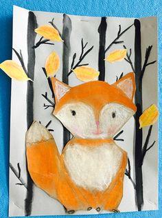 Fox in the trees Group Art Projects, Animal Art Projects, Classroom Art Projects, School Art Projects, Art Classroom, Autumn Art, Winter Art, 2nd Grade Art, Jr Art
