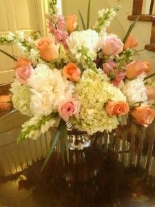 """White and pink wedding floral arrangement for the cocktail hour as featured on the 1800Flowers' flower blog, Petal Talk post, """"It's a Nice Day for a White Wedding' with White Wedding Flowers."""""""