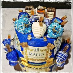 Blue is definitely Mario's favorite color! Hennessy infused cake with matching bling berries! 21st Bday Cake, 19th Birthday Cakes, Birthday Cake For Him, First Birthday Cake Topper, Adult Birthday Cakes, Birthday Cakes For Women, 21st Birthday, Hennesy Cake, Liquor Cake