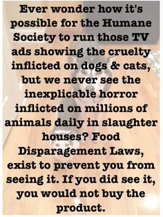 Yes I've always wondered this. And I do not understand why there aren't billboards, commercials, telethons etc showing what happens in slaughterhouses and battery chicken farms!! Oh duh, I DO know why.... wait for it....... MONEY!!! I don't want to live on this planet anymore.