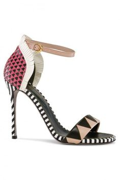 6b31e126ae Sergio Rossi: Oberoj Sandals in Rose Multicolor woven leather ankle strap  sandals with mixed pattern nude and black zigzag, black and rose spotted  back, ...