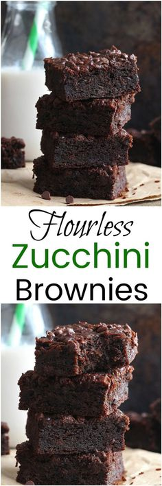 Flourless Zucchini Brownies - Made without any flour, these fudgy Flourless Zucchini Brownies are gluten-free, dairy-free and paleo!