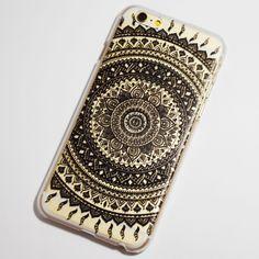 Black Henna Sun Rays iPhone 6 / 6S Transparent Hard Case Henna Phone Case, Bling Phone Cases, Art Phone Cases, Diy Phone Case, Phone Cover, Iphone Cases, Iphone 6 Cases Black, Henna Sun, Kawaii Phone Case