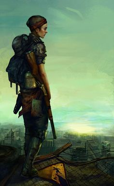 view of the SOLE SURVIVOR on the rooftops of BOSTON, circa 2288 A.D.
