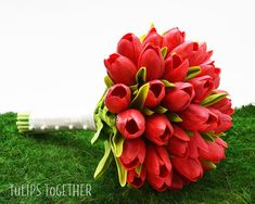 Red Real Touch Tulip Wedding Bouquet Ready for by TulipsTogether