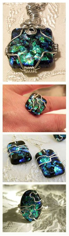 Wire-wrapped resin jewelry by Patty Squillante. Site has video how-tos on making different resin pieces.