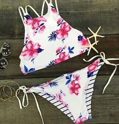Reversible Floral Striped Print Halter Bikini Sets