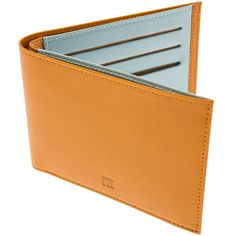 Ettinger London Luxury Leather TT Tan & Sky Blue Billfold Wallet Pearson Lloyd