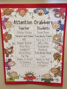 Catchy attention grabbers to use for whole class instruction. Classroom Cheers, Classroom Behavior, Future Classroom, School Classroom, Classroom Activities, Behavior Management, Class Management, Classroom Management, Cooperative Learning