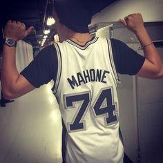 Austin Mahone's custom Spurs jersey.